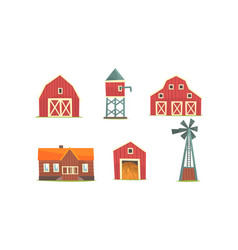 rural farm buildings collection agriculture vector image