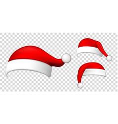 santa claus hat 3d set realistic claus hat vector image