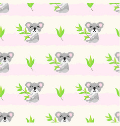 seamless pattern with cute koalas and vector image