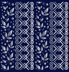 seamless pattern with silver ornament and leaves vector image