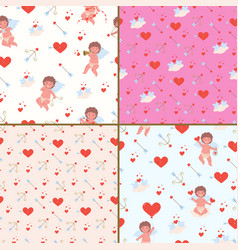 Seamless patternes for valentines day with cupids vector
