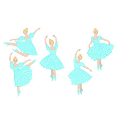 set ballerinas in blue dresses isolated vector image