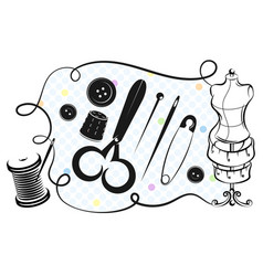 Set for sewing and cutting vector