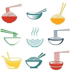 set noodles vector image