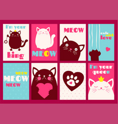 Set of banners with cute cats vector