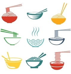 Set of noodles vector