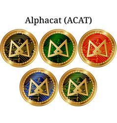 Set of physical golden coin alphacat acat vector