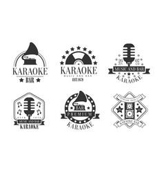 set retro emblems for karaoke contest vector image