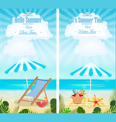 set summer vacation vertical banners vector image