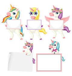 set unicorn holding blank banner vector image
