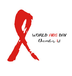 Shape of red aids ribbon from brush strokes vector
