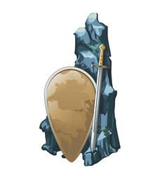 Shield and sword with stone is covered with silt vector
