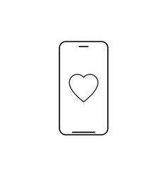 smartphone with heart outline icon linear style vector image