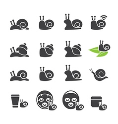 snail icon set vector image