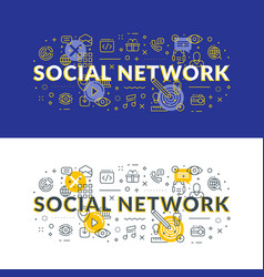 Social network flat line concept for web banner vector