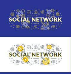 social network flat line concept for web banner vector image