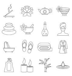 Spa treatments icons set outline style vector