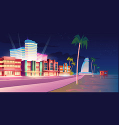 Street in miami with hotel and sand beach at night vector
