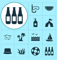 summer icons set with watermelon palms gulls and vector image
