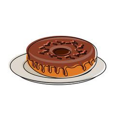sweet donut on dish vector image