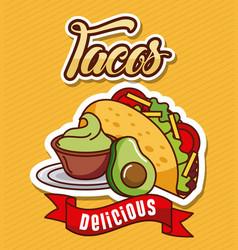 Tacos avocado guacamole delicious food vector