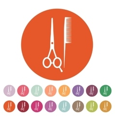 The scissors and comb icon Barbershop symbol vector image