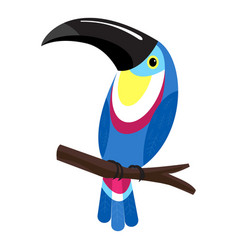 Toucan on branch icon cartoon style vector