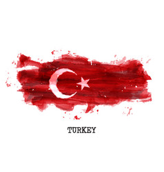 Turkey flag watercolor painting design country vector