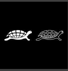 turtle tortoise icon set white color flat style vector image