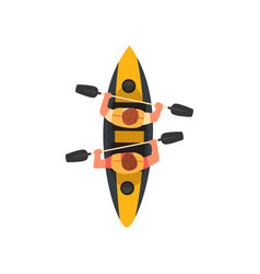 Two men paddling double kayak kayaking water vector