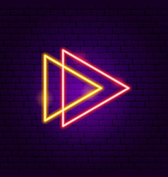 Two triangle arrow neon sign vector