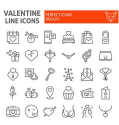 valentine line icon set romantic symbols vector image