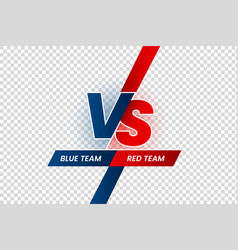 Versus duel headline battle red vs blue team vector