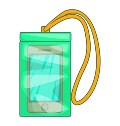 Waterproof phone case icon cartoon style vector