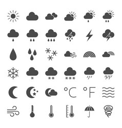 weather solid web icons vector image