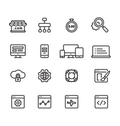 web development outline icons vector image