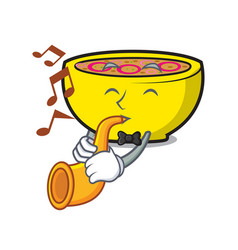 With trumpet soup union mascot cartoon vector