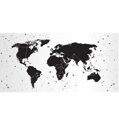 world map triangle geometric connection background vector image