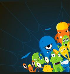 angry halloween monsters cartoon vector image