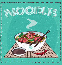 asian noodle soup with vegetables and shrimp vector image