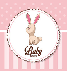 baby shower card invitation - bunny decorative vector image