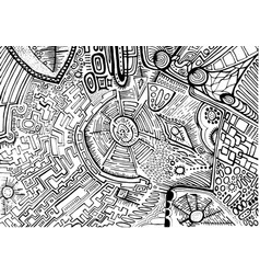 black white decorative abstract pattern maze of vector image vector image