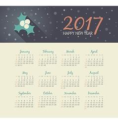 Calendar 2017 year with christmas mistletoe vector