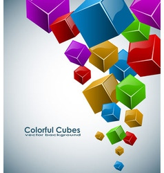 Colorful 3D cubes background with copy space vector image vector image