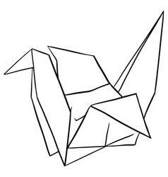 doodle paper crane on white background vector image