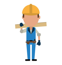 man construction wooden board and tool belt vector image