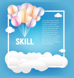 origami made colorful balloons and clouds in paper vector image