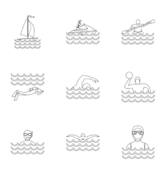 Water sport icons set outline style vector image vector image