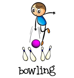 A stickman bowling vector image vector image