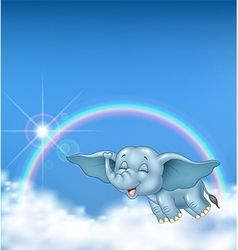 Cute baby elephant flying on rainbow background vector image vector image
